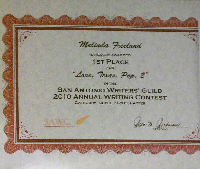 0 SAWG 1st Place Novel Category
