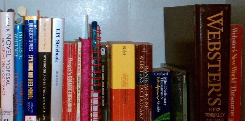 6 Writing reference books on book shelf