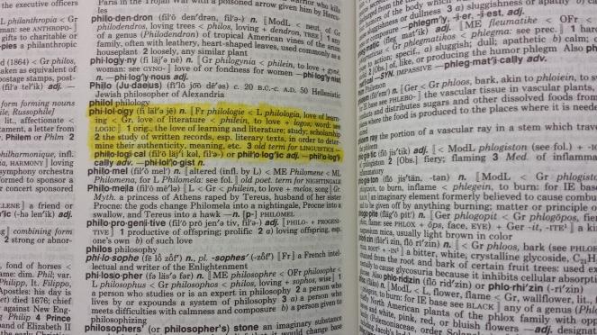 Philology inside Webster's highlighted2